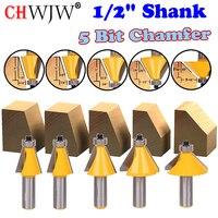 5 PC 1 2 Shank Chamfer Router Bit Set 11 25Degree 15Degree 22 5Degree 30Degree 45Degree