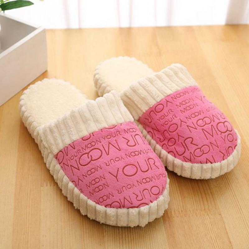 Women Warm Letters Slippers Splicing Soft Anti-Slip Cotton Slipper Shoes 4 Colors for Choice u pouch design color block splicing letters print men s boxer brief