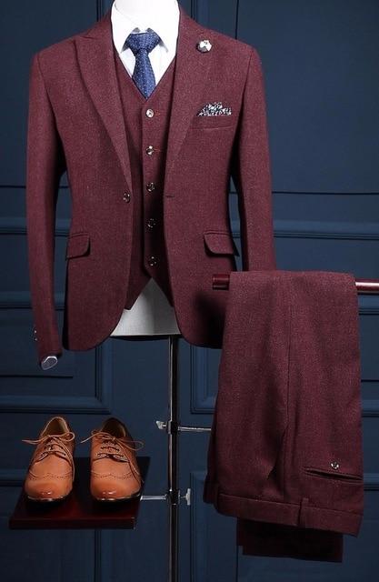 Autumn Winter Burgundy Tweed Groom Tuxedos Italian Style Man Suit 3 Piece Mens Wedding Prom Party
