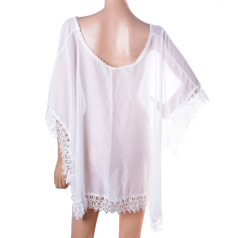 Vertvie Women Sexy Chiffon Cover-up Beach Wear Beach Bathing Suits Swimwear Dress White Bikini Bathing Suit Cover Up Blouse New
