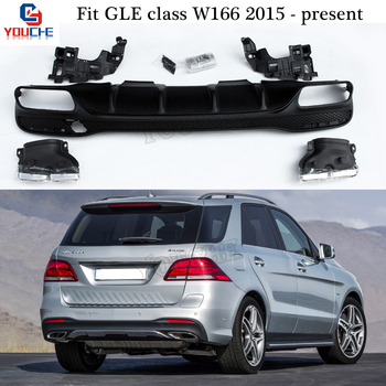 Mercedes W166 Endpipe Choques Traseiro Difusor & Dicas de Escape para Benz GLE Classe W166 GLE500 Lip Amortecedor Traseiro SUV 2015-presente