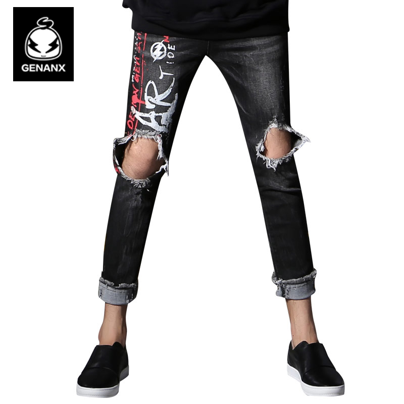 Genanx Brand fashion Printing Black Jeans Trend New Personality Summer Broken Hole Pant Men SIZE M-XXL