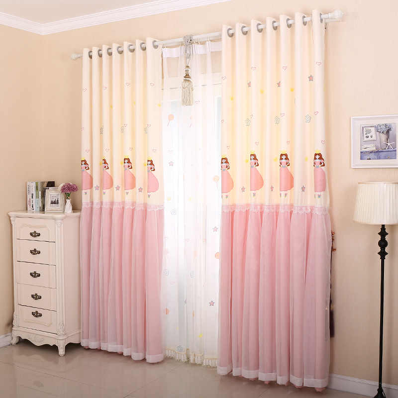 Pink Beige Stitching Sweet Girl Embroidered Blackout Curtains For Living Room Bedroom Cartoon Lace Curtain For Princess Room #4