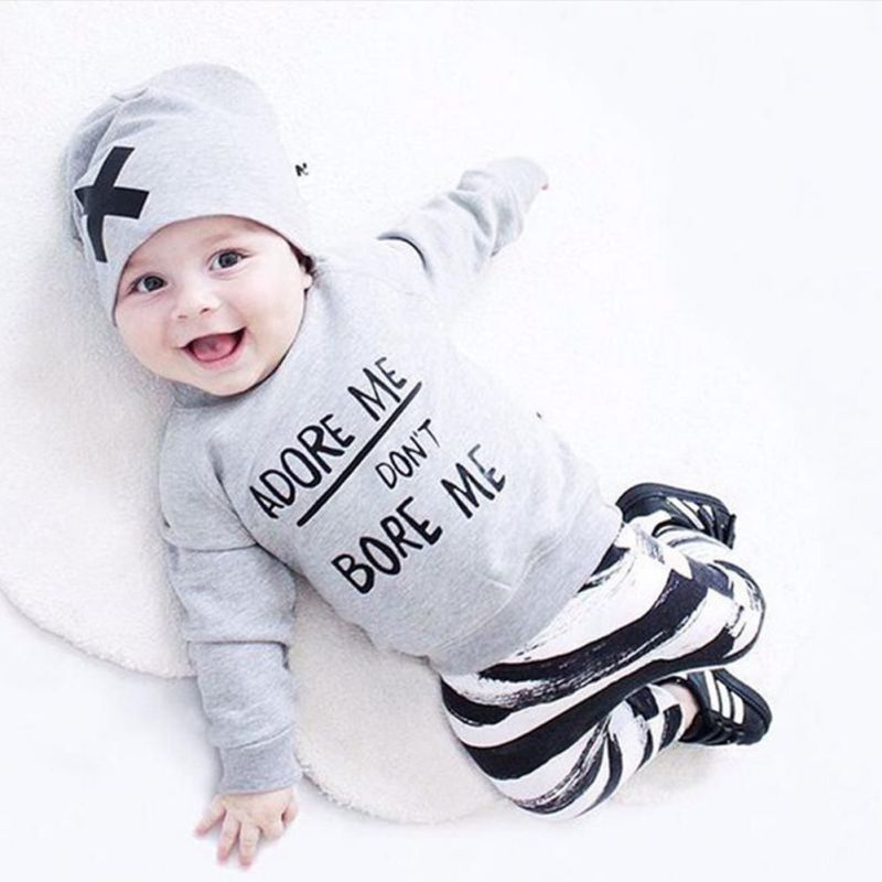 Newborn Baby Boy Girl Long Sleeve Soft Clothes Cotton Top Pants Hat Outfits Sweat Set