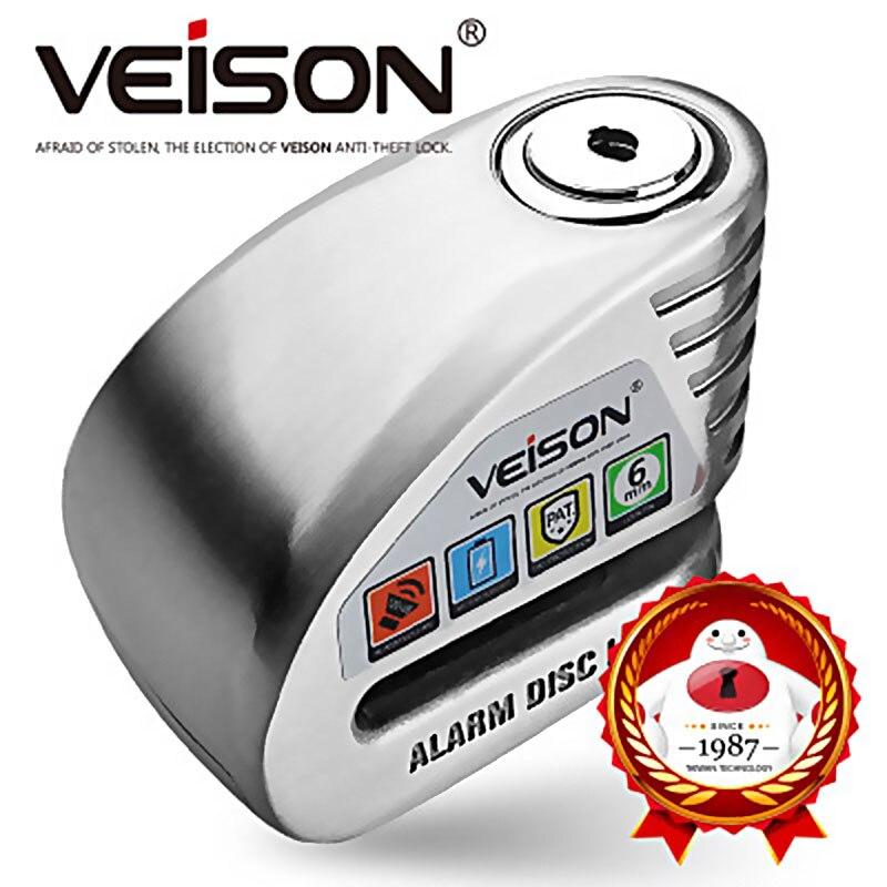 VEISON moto étanche Anti-vol 130dB alarme serrure moto/vélo disque sécurité avertissement serrure 6mm Pin frein serrure