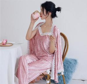 Image 3 - Fdfklak חדש סתיו חורף פיג נשים ארוך שרוול קטיפה חם הלבשת נשים פיג מה סט מתוק תחרה nightwear פיג מות