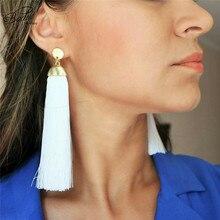 Badu Women White Tassel Earrings Long Fringes Gold Metal Dangle Drop Earring Simplicity Style Party Jewelry Black Friday