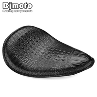 BJMOTO Motorcycle Retro Black/Brown Crocodile Leather Style Solo Slim Seat For Harley Yamaha Sportster Bobber Chopper and Custom
