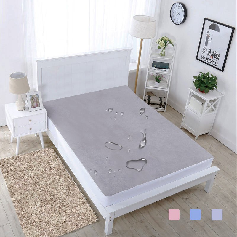 Waterproof Mattress Cover Bed Cover Queen Waterproof Sheet Fitted Terry Cloth Auti Dust Mite Bed Bug for Single Double Bed