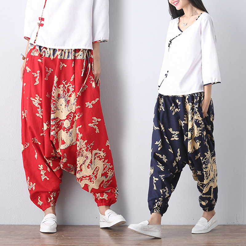 Female cotton   pants   Haren relaxed leisure folk style art RETRO   wide     leg     pants   sagging Nepali style   pants   hip hop