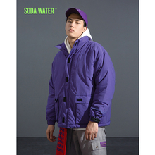 SODA WATER 2018 new autumn  Men's Jacket Spring Coat Cotton Padded Solid Jacket Men Casual Coat Streetwear Male Parka 8761W
