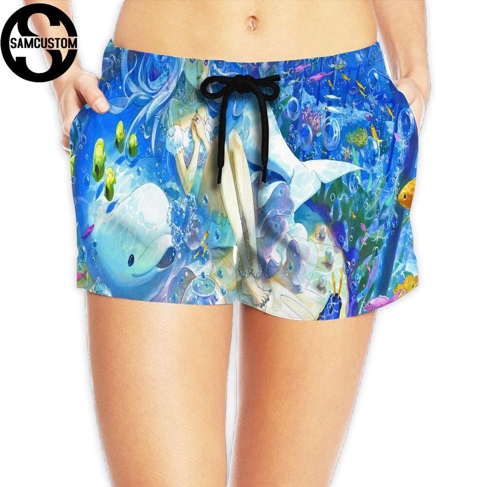 SAMCUSTOM New Womens Quick-drying Beach seaside Casual Shorts narwhal 3D printing Custom Summer Girl Home Shorts