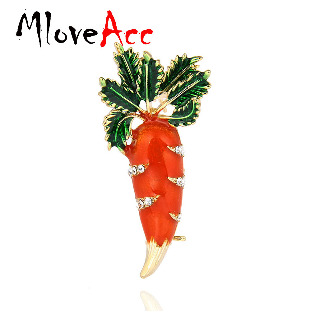 MloveAcc Cute Orange Carrot Brooch Enamel Green Leaves Gold-color Pins Suit Scarf Clothes Corsage Jewelry Women Men Kids Gifts