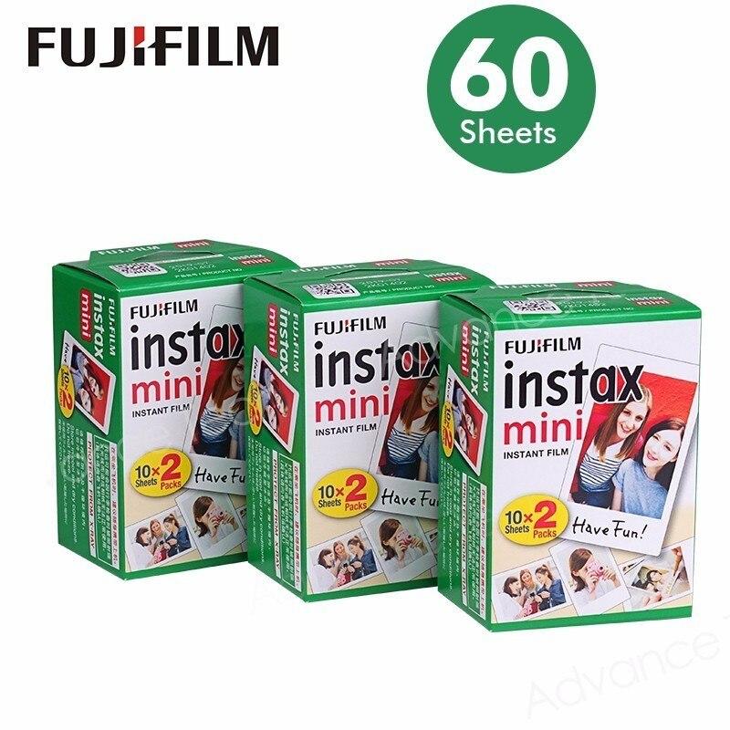 Fujifilm Instax Mini Film Blanc Bord 60 Feuilles/Packs Photo Papier pour Fuji appareil photo instantané 8/7 s/25/50/90/sp-1/sp-2 avec Paquet