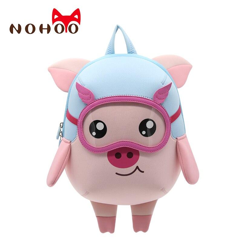 NOHOO Kids Toddler Child Pre School Backpack Waterproof 3D Cartoon Pilot Pig Sidesick Bag For Pre Kindergarten 2-6 Years