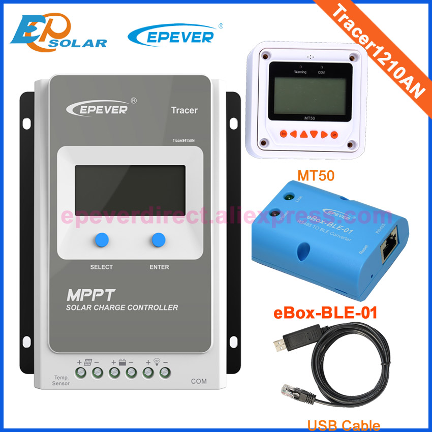 10A 10amp controller EPSolar original tracer1210AN BLE BOX and USB cable 24V 12V solar regulator MT50 remote meter with white color mt50 remote meter epsolar pwm solar battery charger controller bluetooth function usb cable ls2024b 20a