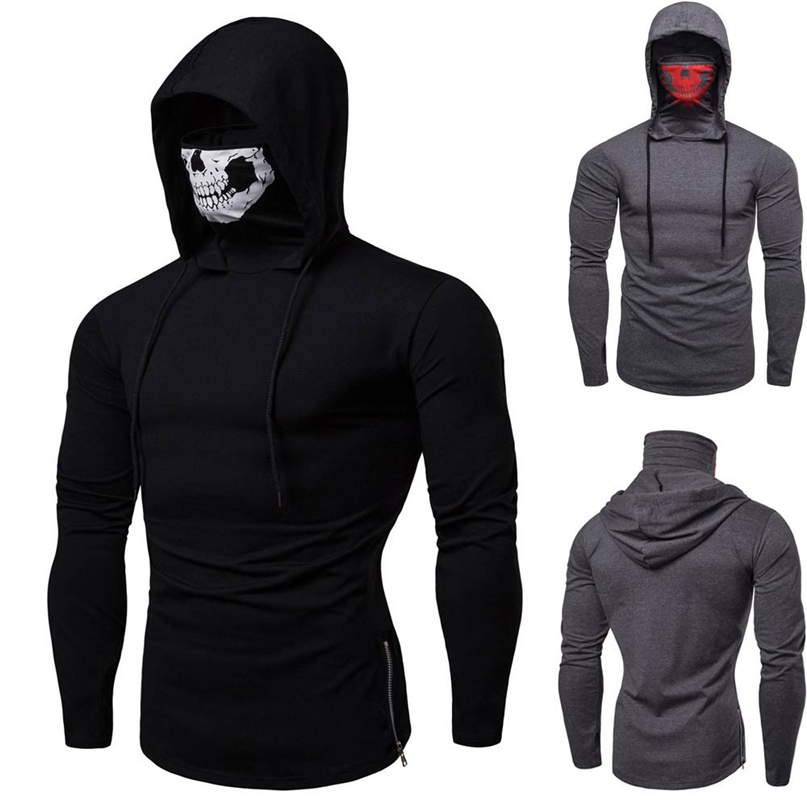 Pullover Sweatshirt Long-Sleeve Pure-Cycling Winter Fashion Skull Men Windproof -4nv22