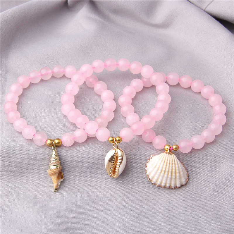 Simple pink quartz Crystal beads bracelet for women ladies girls Natural shell charm boho bracelets jewelry female friendship