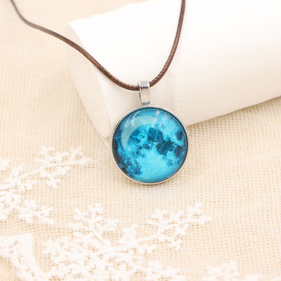 Yisoso Vintage Jewelry Glass Cabochon Luminous Necklace Glowing in the Dark Galaxy Moon Pendant Necklace For Women and Men