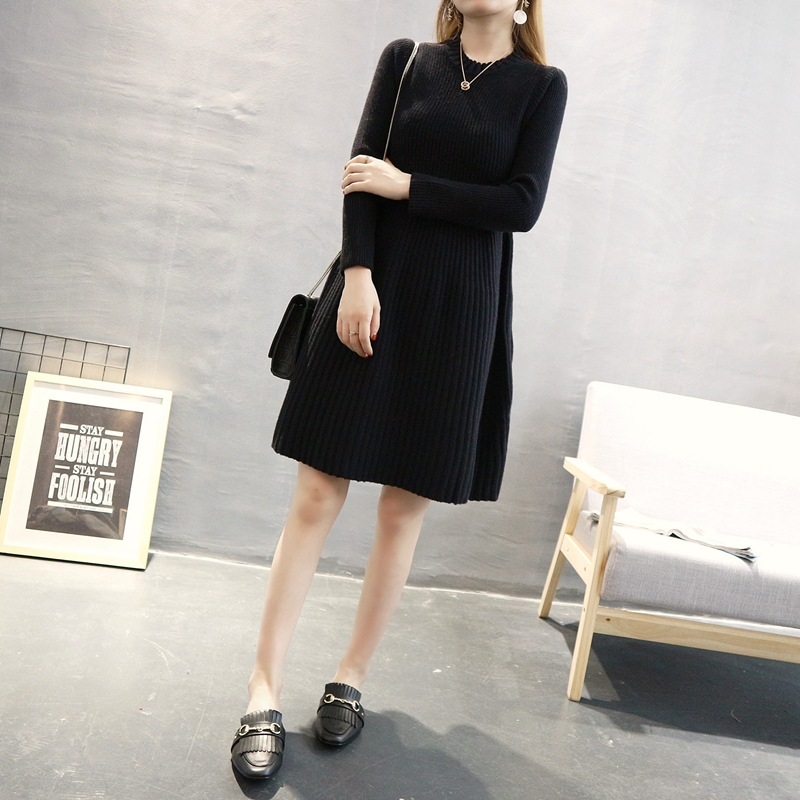 BONJEAN New Autumn And Winter Fashion Maternity Knit Dress Long Sweater Dress Of Pregnant Women Loose Pregnancy Clothing