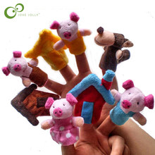 8pcs/lot Baby Cartoon 3 Little Pigs Characters Finger Puppets Theater Show Soft Dolls Props Kids Toys for Children Gift Game GYH(China)