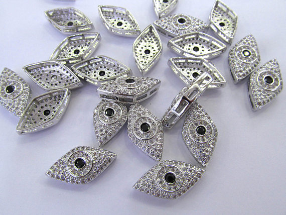 12pcs Micro Pave Diamond Evil Eye Marquise Pave connector Findings multi strand charm beads 12-20mm