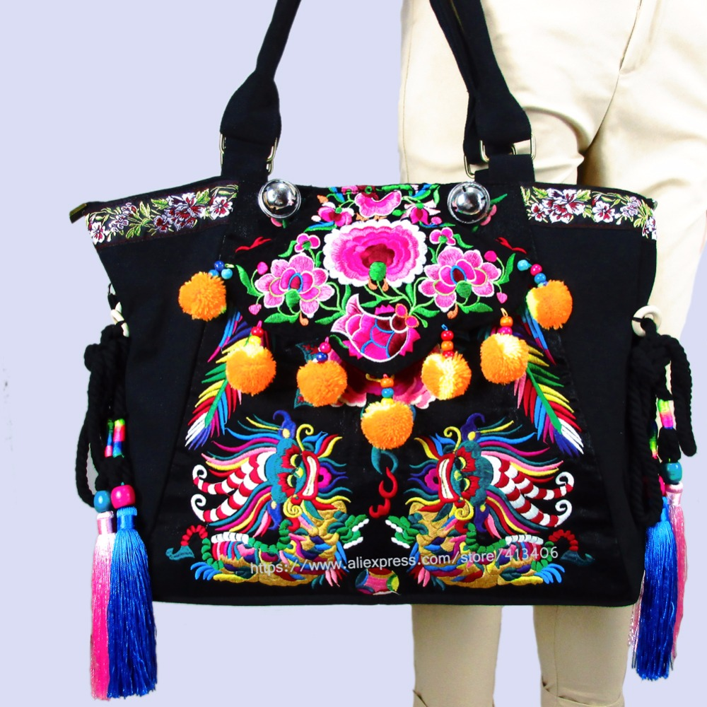 2-Usage Hmong Vintage Ethnic Tribal Thai Bohemian shoulder bag messenger tote bag handmade, embroidery pom trim bell bag SYS-554 off shoulder pom pom trim top with shorts
