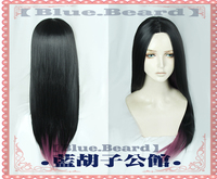 Anime The Dragon Prince Claudia Wig Cos Prop 75cm Long Straight Black Ombre Purple Synthetic Hair Cosplay Costume Wigs + Wig Cap