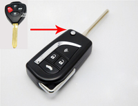4 Buttons Modified Flip Folding Remote Key Case Shell For Toyota Camry Key Fob Cover Free
