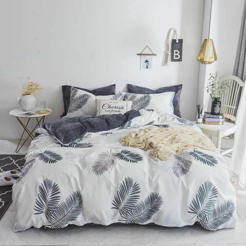 2019 New Year Winter Thicken Bedding Set 4pcs Cotton Flannel AB Side Include Duvet Cover Sheet Pillowcase 1.5m/1.8/2m Room Decor2019 New Year Winter Thicken Bedding Set 4pcs Cotton Flannel AB Side Include Duvet Cover Sheet Pillowcase 1.5m/1.8/2m Room Decor