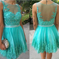 2016 Tulle Appliques Beaded Cocktail Dresses Sleeveless Cocktail Dress A-Line Short Summer Dress For Party