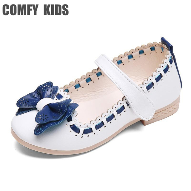 COMFY KIDS 2018 Pu Leather Girls Flats shoes fashion tie size 21-30 girls  kids princess shoes baby girls dance flat shoes ff55ac71fb27