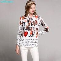 QYFCIOUFU High Quality Women Tops Fashion Casual Long Sleeves Chiffon Blouse Designer Runway Animal Printed Bow