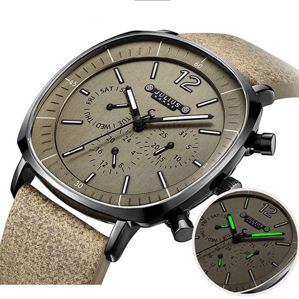 Men Genuine Leather Swiss Quartz Watch Men's Calendar Luminous Hand Waterproof High Quality Homme Wrist Watches Gift Clock Reloj