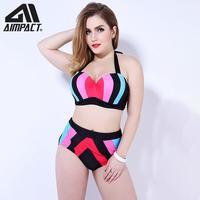 AIMPACT Plus Size Sexy Bikini Sets Women Swimsuit 2 pieces Swimwear Lady Striped Push Up Padded Bathing Suit Beachwear AM9021