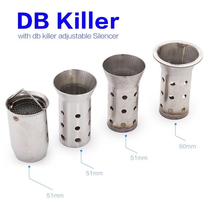 Silenciador de tubo de escape DB Killer Universal 51mm 60mm moto rcycle silenciador de escape db killer moto silenciador de sonido Eliminador Máquina de ruido para reducir/disminuir/reducir el ruido del vecino de arriba, eliminador de ruido/eliminador de sonido/silenciador