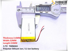5pcs [SD] 3.7V,700mAH,[363255] Polymer lithium ion / Li-ion battery for TOY,POWER BANK,GPS,mp3,mp4,cell phone,speaker