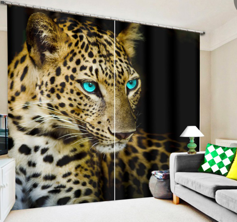 The Tiger and leopard 3D Blackout Curtains Healthy non pollution Digital Print Blue eyes Curtains for