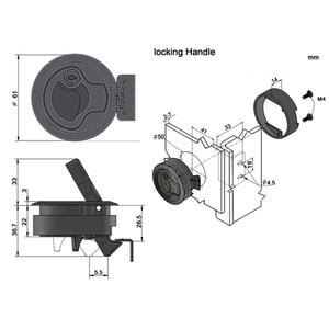 """Image 5 - 4 szt. 2 """"plastikowe zatrzaski zatrzaskowe (2 z blokadą + 2 bez blokady) okrągły zamek pokładowy Hasp Lift Ring Handle Yacht akcesoria"""