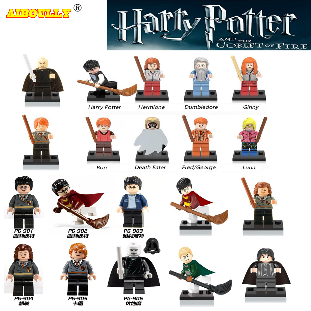 AIBOULLY Harry Potter Single Sale Action Figures Hermione Granger Ron Lord Voldemort Draco Malfoy Blocks Gift Kids Toys 12pcs set children kids toys gift mini figures toys little pet animal cat dog lps action figures