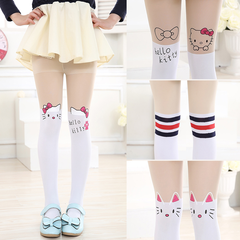 New Free Purchasing Kids Child Children Ladies Tights Cute Pantyhose Good day Kitty Knee Pretty Tattoo Tights Pantyhose Ladies Stocking
