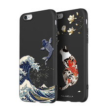 2019 Great Emboss Phone Case For Iphone 6 Plus cover Kanagawa Waves Carp Cranes 3D Giant relief 6s
