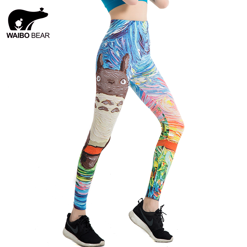 High Elastic Women   Leggings   Cartoon Harajuku Totoro Illustration Print Fitness Fashion Creative Popular Straight Pant WAIBO BEAR