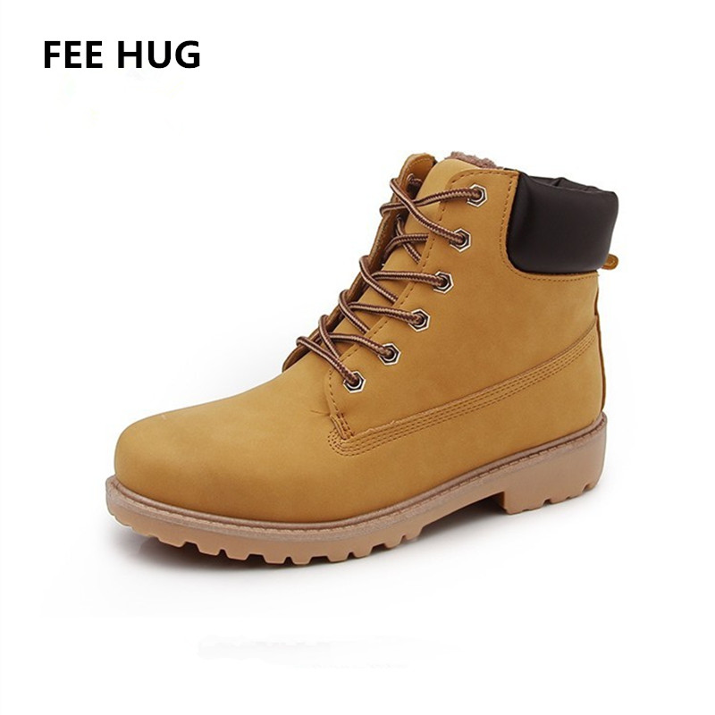 FEE HUG Cool Woman's Ankle Boots Motorcycle Lacing Up Fashion Winter Autumn Boots Shoes For Woman Ladies Work Shoes Snow Wear big size footwear woman flats shoes bling beads pointed toe boat shoes for women black solid fashion soft sole ladies shoe 43