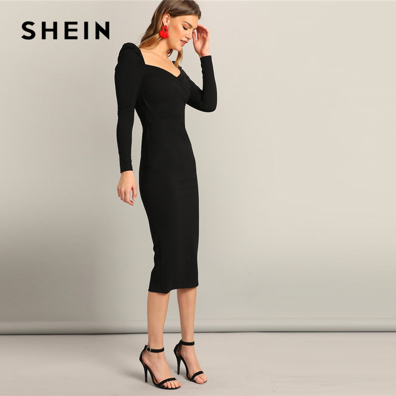 SHEIN Black Surplice Neck Sweetheart Puff Sleeve Split Pencil Plain Bodycon Dress Women Spring Elegant High Waist Dress