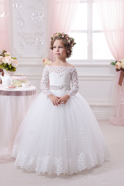 b03267b60ee Long Sleeve Lace White Flower Girls Dresses For Weddings Party Tulle Ball  Gown Cheap 2016 Girls