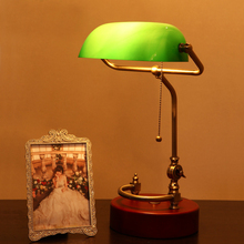 Table-Lamp Lampshade Desk-Light Switch-Glass Bedroom Retro Chinese Green Wood Ul Ac Metal