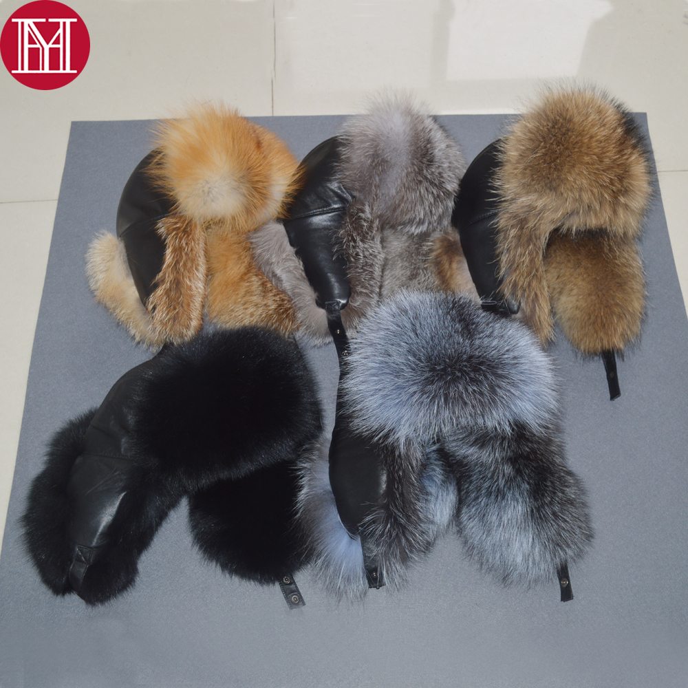 2019 men luxury winter russian real fox fur hat warm soft quality 100% real raccoon fur bombers cap real sheepskin leather hat(China)