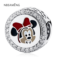 2018 New Authentic 925 Sterling Silver Bead Boy Girl Cute Cartoon Mouse Charm Fit Original Pandora