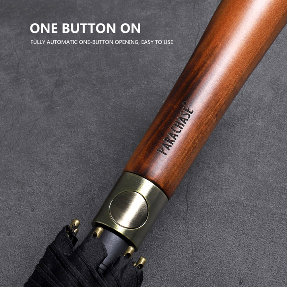 Image 2 - Parachase Large Long Umbrella Rain Men Women Wooden Handle Double